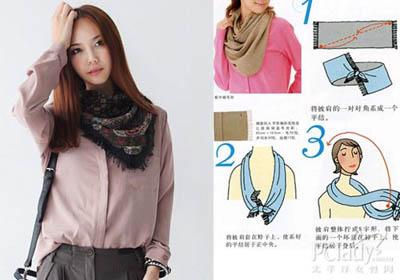 女士长围巾的系法图解 韩国 的女士长围巾系法