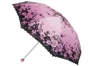 钻石粗斜布二折绣花毛笔伞