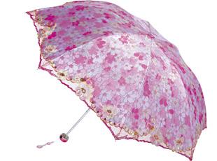 花瓣雨三折超轻绣花负离子伞