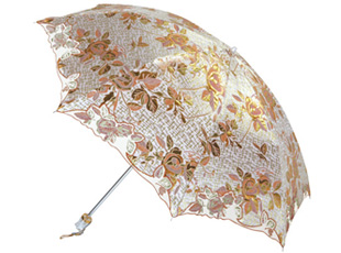 金色蔷薇二折绣花防蚊伞