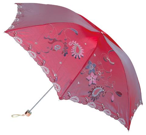 变色闪光布三折超轻绣花伞