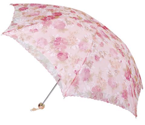 双层植绒纱三折超轻绣花伞