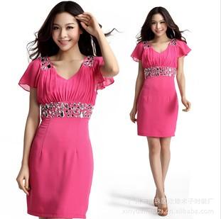 批发 2012新款夏装韩版V领 雪纺修身连衣裙